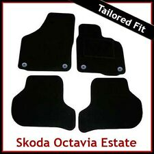 SKODA OCTAVIA Estate Mk2 2004-2013 Round Eyelets Tailored Carpet Car Mats BLACK