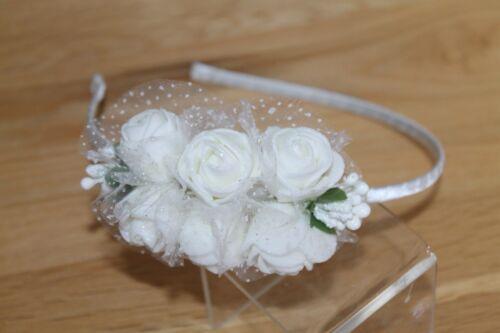 Alice Band White Rose Flower Hairband Headband Bridal Bridesmaid Flower girl