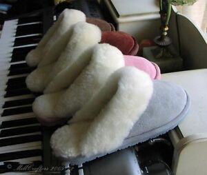 NEW-WOMENS-LADIES-BEST-SHEEPSKIN-SCUFF-SLIPPERS-SIZE-5-6-7-8-9-10-ALL-COLORS