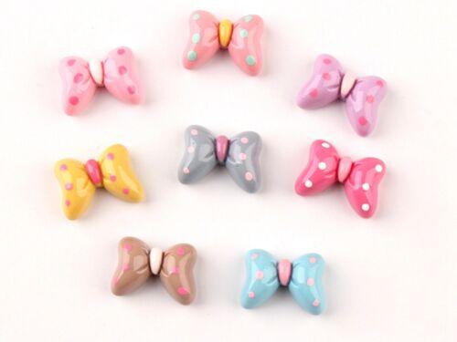 25 Mixed Color Flatback Resin Bowknot Bows Knots Cabochons Various Embellishment