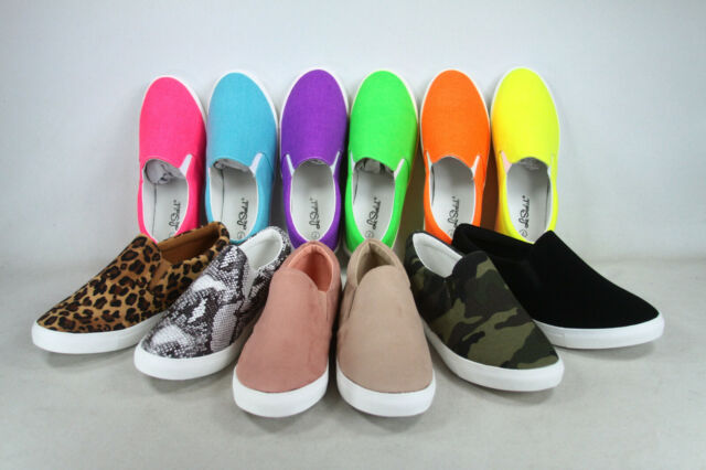 NEW Women/'s Assorted Colors Prints Slip On Causal Flat Sneaker Shoes Size 5-10