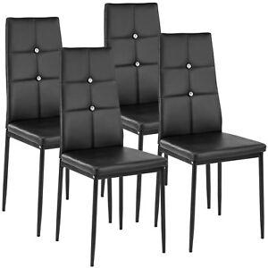 Dettagli su Set di 4 sedia per sala da pranzo tavolo cucina eleganti  moderne robusto nero