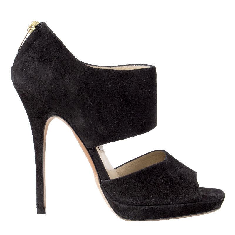41864 auth JIMMY CHOO svart mockaläder SANDA SANDA SANDA Platform Sandals skor 38  bästa pris