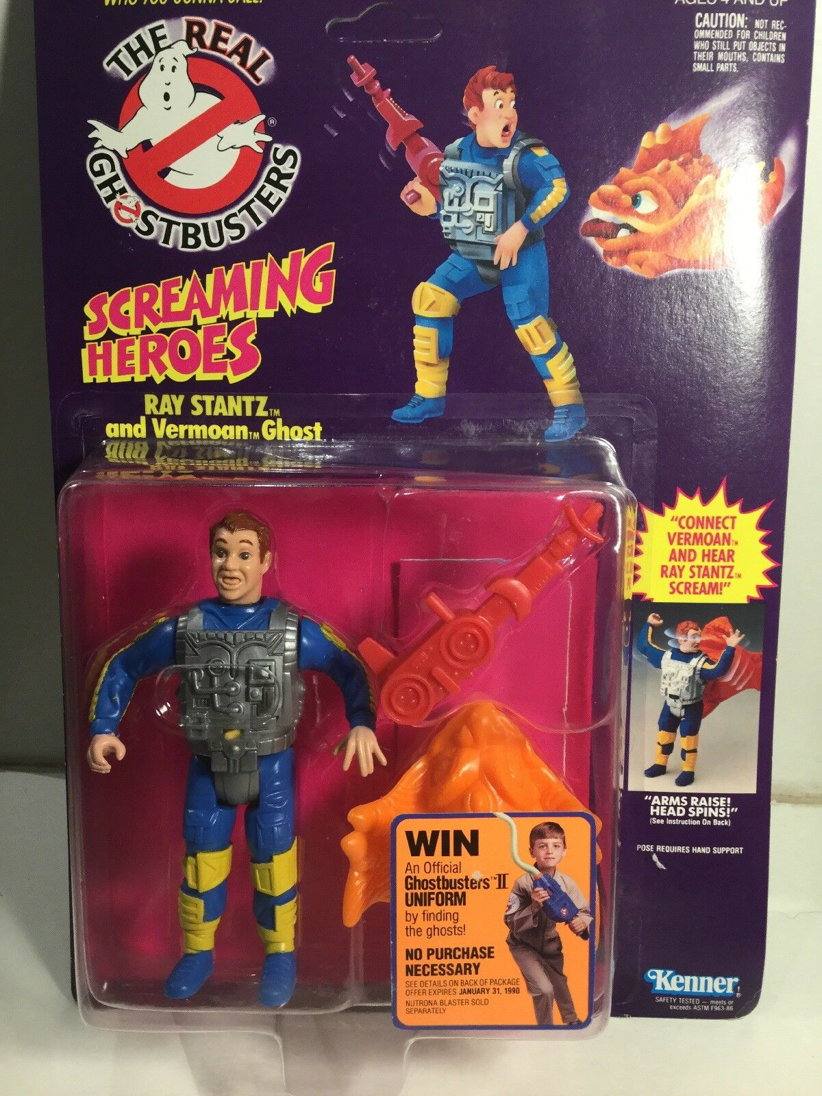 Anni 1980 Kenner THE REAL GHOSTBUSTERS RAY STANTZ E vermoan Ghost SIGILLATO su carta