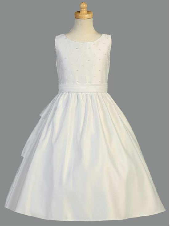 White Flower Girl First Communion Baptism Dress Satin Size 14 Faux Pearls New