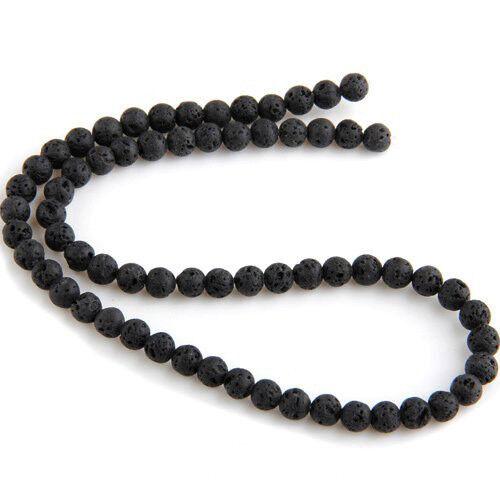 Strang Lava Steinperlen Stein Perlen schwarz Rund 10mm N1T9
