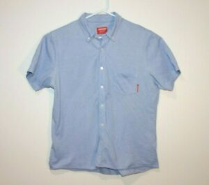 RM-Williams-Button-Front-Short-Sleeve-Denim-Shirt-Size-Men-039-s-XL-Tapered-Fit