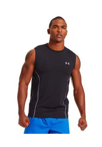 568c90863b4f9c Under Armour Men s HeatGear Sonic ArmourVent Sleeveless Shirt Small Black  1243334001sm