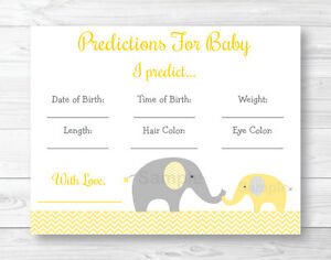 picture about Baby Shower Cards Printable named Data around Yellow Chevron Elephant Little one Shower Child Predictions Video game Playing cards Printable