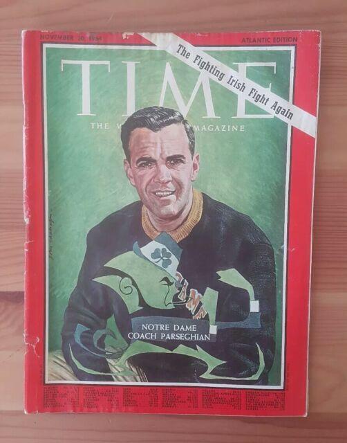 TIME magazine November 20 1964 NOTRE DAME COACH PARSEGHIAN