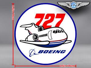 BOEING 727 B727 VINTAGE PUDGY STYLE ROUND DECAL / STICKER