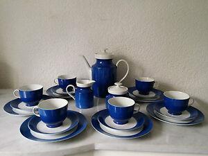 kaffeeservice teeservice service rieber wunsiedel bavaria porzellan blau wei ebay. Black Bedroom Furniture Sets. Home Design Ideas