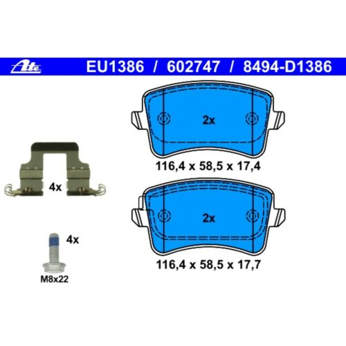 For Audi A4 A5 Quattro allroad Q5 S5 Rear Brake Pad Set ATE 602747