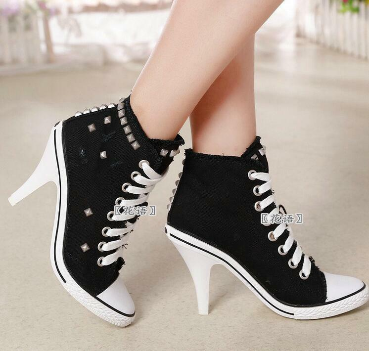 Donna High Heel Pump Rivet Stiletto Lace Up Shoes Canvas Denim High Top Sneaker