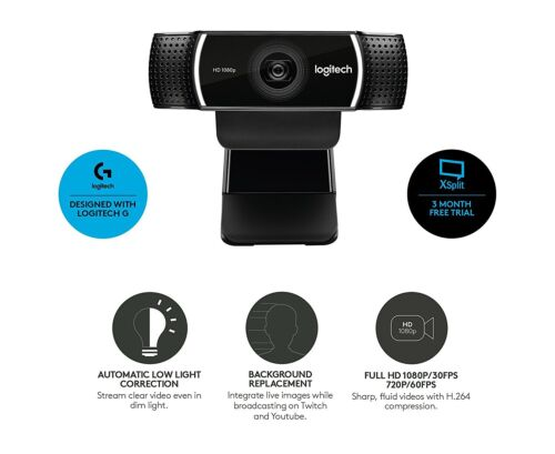 Logitech C922 Pro Stream Webcam 1080P Camera for HD Video Streaming /& Recording