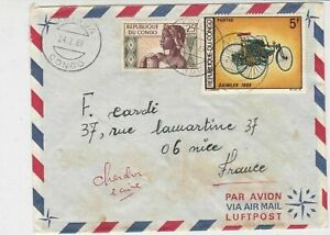 Rep Du Congo 1969 Airmail Mbinda Cancels Lady + Daimler Stamps Cover Ref 30809