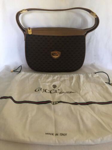 Gucci Vintage Handbag. Medium Brown Leather w/ Dar