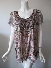 One World Multi Color Paisley Hobo Printed Cap Sleeve Top Blouse fits XL/1X