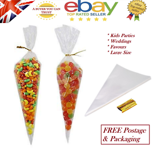 Coloured Cello Treat Bag Plastic Candy Sweet Gift Party Cone Bags /& Ties Clear