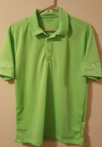 Men-039-s-PORT-AUTHORITY-Lime-Green-100-Polyester-Short-Sleeve-Polo-Shirt-Size-S