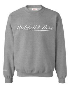 Mitchell /& Ness Script Logo Grey Hoodie Mens Hooded Pullover Jumper A39C