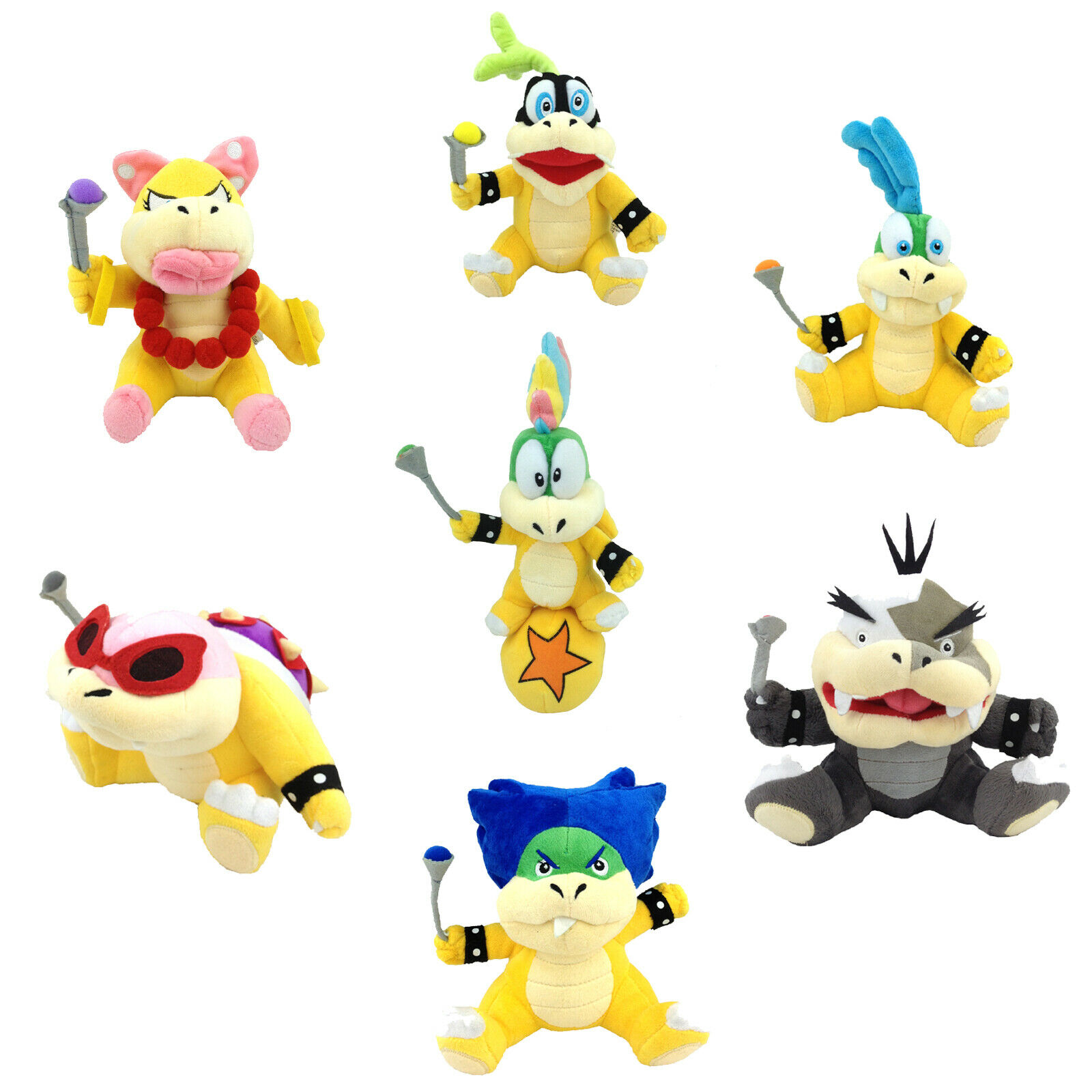 7X Super Mario Plush leksak Koopalings Lemmy Larry Roy Wendy Morton Ludwig Iggy