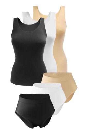 Damen Wäscheset Microfaser Unterhemd Maxi Slip Tank Top Taillenslip