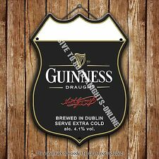 Guinness Draught Beer Advertising Bar Old Pub Metal Pump Badge Shield Steel Sign