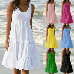 Summer-Women-Casual-Solid-Sleeveless-Party-Beach-Mini-Tank-Dress-Plus-Size-S-5XL