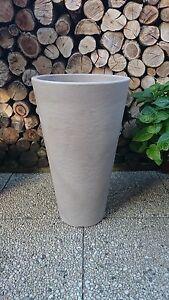 Pflanzkuebel-Blumenkuebel-40-x-70cm-PVC-Stein-Optik-taupe