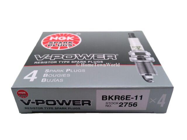 4 PCS NGK V-Power Copper Spark Plugs BKR6E-11 # 2756 OEM UPGRADE More Power