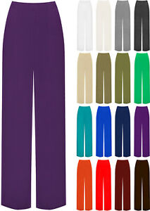 Womens-Plain-Palazzo-Wide-Leg-Flared-Ladies-Trousers-Pants-Plus-Size-8-26