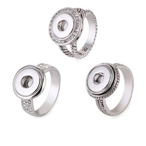 SMALL Mini Button Druckknopf Ring Strass Silber kompatibel mit Chunk Chunks