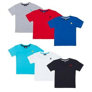 Ninos-100-Algodon-Verano-Cuello-Redondo-Manga-Corta-Camiseta-Talla-Edad-2-TO13
