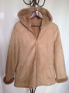 hot sale multiple colors online retailer Details about MARVIN RICHARDS Tan Faux Fur Faux Leather Hooded Jacket Size M