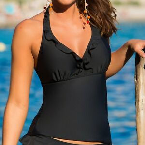 40dbeccc6861d Image is loading Pour-Moi-Splash-Frill-Underwired-Tankini-Top-Black-