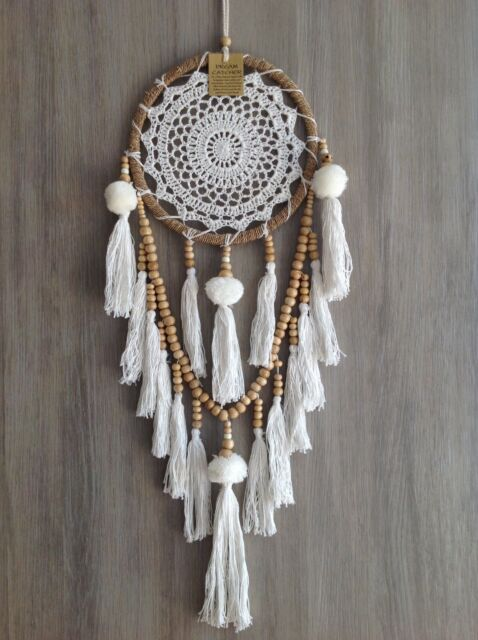 22x80cm Rattan Dream Catcher Crochet Web White/Cream Pom Poms Tassels Wood Beads