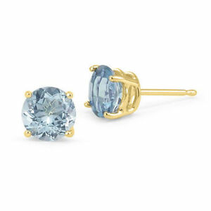 Image Is Loading Light Blue Aquamarine Earrings 14k Solid Yellow Gold