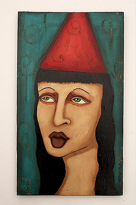Sherry Dooley Original Portrait Dreamy Angelic Style Thick Wood