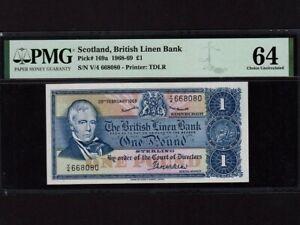 Scotland:P-169a,1 Pound,1968 * British Linen Bank * PMG Ch. Gem UNC 64 *