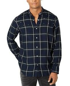 INC-NEW-Blue-Mens-Size-Small-S-Star-Studded-Plaid-Banded-Collar-Shirt-65-048