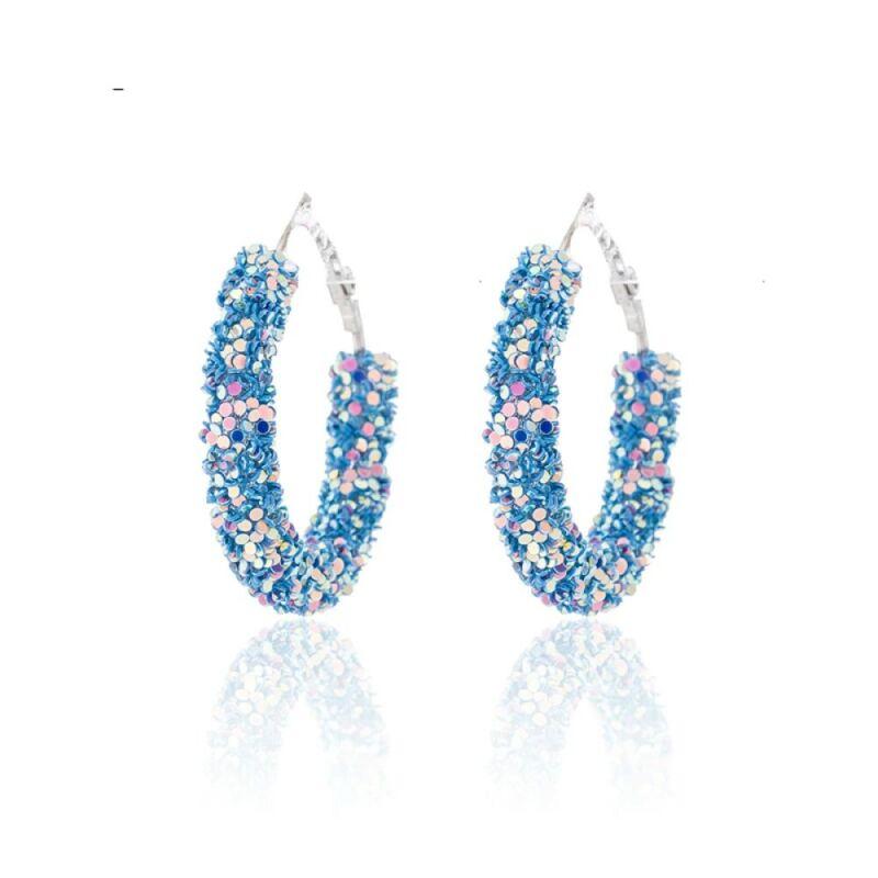 Blue & Silver Iridescent Crystal Glitter Sequin Hoop Earrings