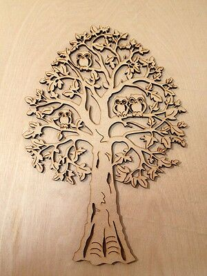 """1 x MDF """"DECORATIVE TREE WITH OWLS - Embellishment - approx 175mm high"""