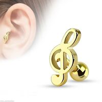 """Cartilage/Tragus Ear Music Treble Clef Gold Plated 16 Gauge 1/4"""" 12mm Body Jewel"""