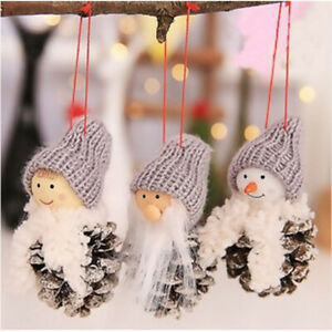 Set-of-3-Natural-Pine-Cones-Traditional-Father-Christmas-Snowman-decorations-LGW