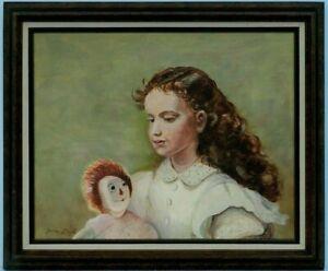 "M.JANE DOYLE SIGNED ORIG. ART OIL/CANVAS PAINTING ""KAREN WINSLOW"" (PORTRAIT) FR."