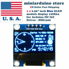 "0.96"" I2C IIC 128X64 LED OLED LCD  Display Module for Arduino Blue Color SSD1306"