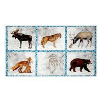 Wildlife Moose Wolf Owl Cotton Fabric Robert Kaufman Winter White 24x44 Panel