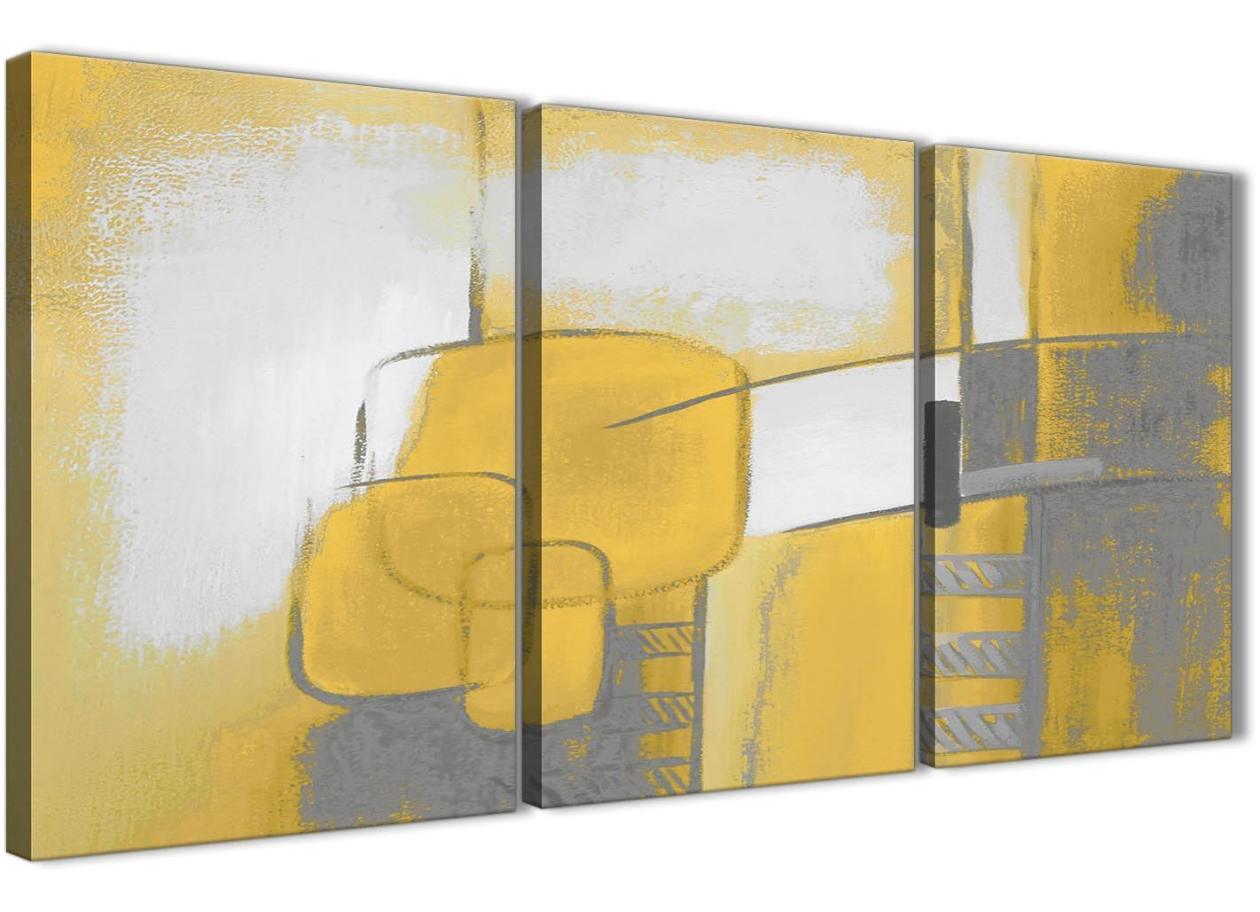 3 Pannello Giallo Senape Grigio DIPINTO CAMERA DA LETTO ARTE in Tela-ASTRATTO 3419 - 126cm