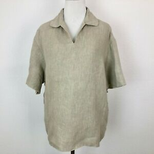 Donna-Karan-Womens-Signature-Womens-Boxy-Linen-Shirt-Lagenlook-Popover-Medium
